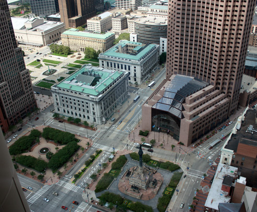 Eastern quadrants of Public Square - Photo by Dan Hanson from Cleveland's Terminal Tower Observation Deck