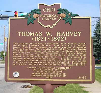 Thomas W. Harvey Ohio Historical Marker