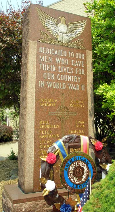 World War II Memorial in Tremont at Annunication Greek Orthodox Church