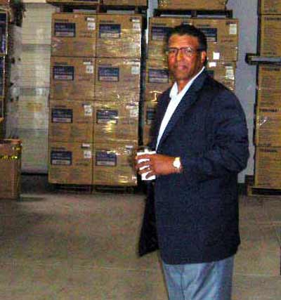 Andre Thornton in his company warehouse