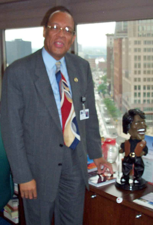 Andrew Venable and James Brown doll