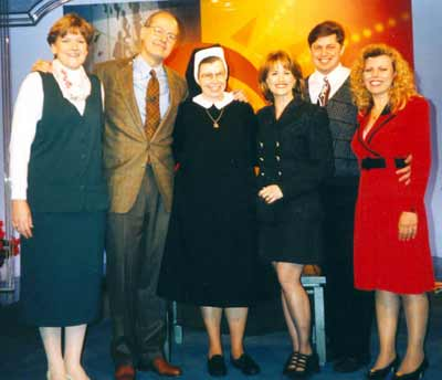 Sister Assumpta With the CBS This Morning crew including anchors Harry Smith & Jane Robelot