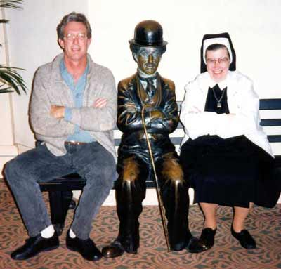 Sister Assumpta With Chris and Charlie Chaplin at the Hollywood Hotel in 1995
