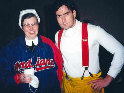 Sister Assumpta with Charlie Sheen