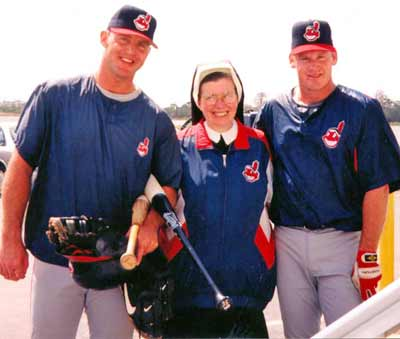 Sister Assumpta with Jim Thome and Matt Williams