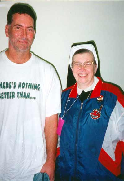Sister Assumpta with Cleveland Indian's Tom Candiotti