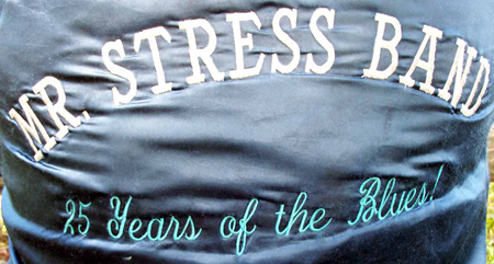 Mr Stress band logo on coat