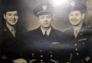 Bill Boehm and brothers George and Howard in the service in WWII