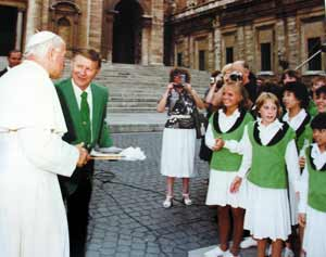 Pope John Paul II with Bill Boehm and the Singing Angels in Rome