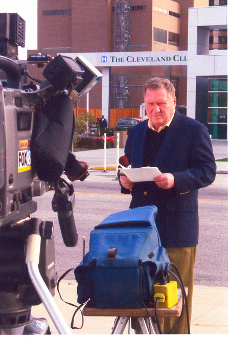 Dan Coughlin doing a live shot at Cleveland Clinic re Lebron James