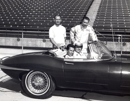 Dan Coughlin at wheel w Mario Andretti - Indianapolis Speedway - Standing from left Parnelli Jones and Lloyd Ruby