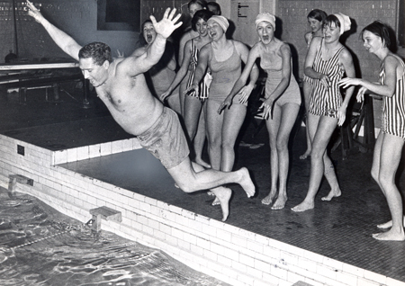 Dan Coughlin with YWCA swim team in 1968