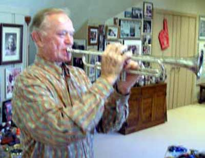 Del Spitzer playing his trumpet