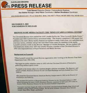 Cleveland Browns Dino Lucarelli media room