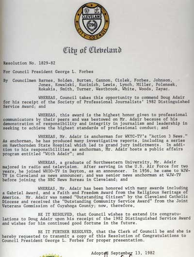 Cleveland City Council Proclamation