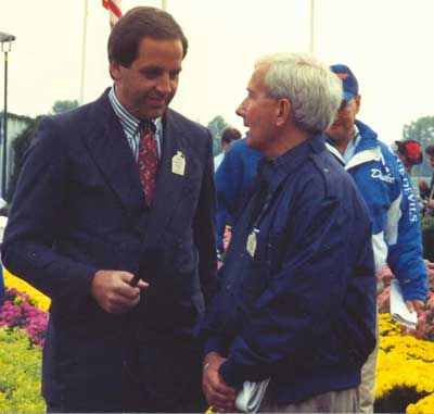 Doug being interviewed after a race in Delaware