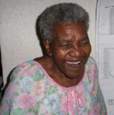 Fannie Lewis at home in 2002
