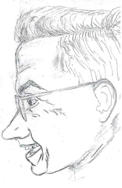 Drawing of Reverend John McCarthy of St Philomena Church