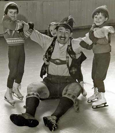 Franz the Toymaker skating with kids
