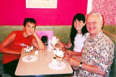 Fred Griffith with daughter Gwen and grandson Forrest on the last day of Draeger's before the Shaker Heights ice cream store closed