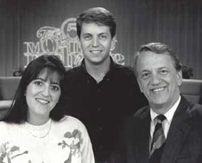 Fred Griffith with daughter Gwen and son Wally on the Morning Exchange set