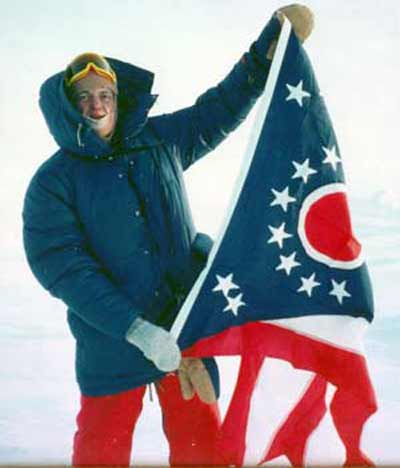 Fred Griffith at the North Pole with Ohio flag