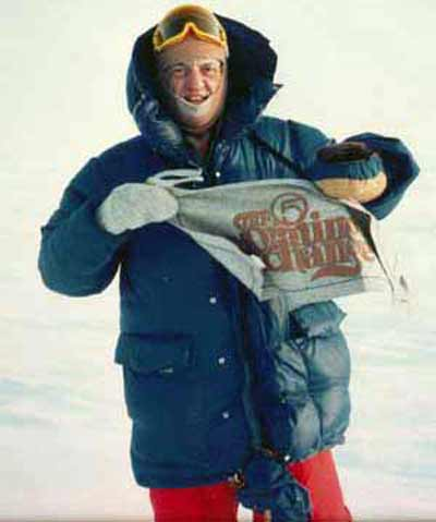Fred Griffith with a Morning Exchange banner on the North Pole
