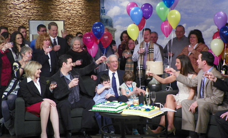 Cake and Champagne toast for Fred Griffith