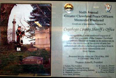 Gerald McFaul Cleveland Peace Officers Plaque