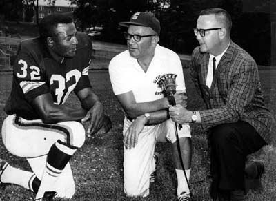Jim Brown with Blanton Collier and Gib Shanley