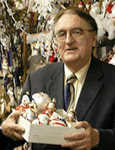 Mr. Christmas Bill Hixson with ornaments