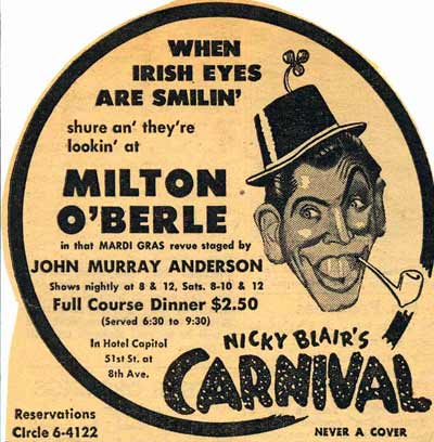 Milton Berle appearing at the Nicky Blair Carnival