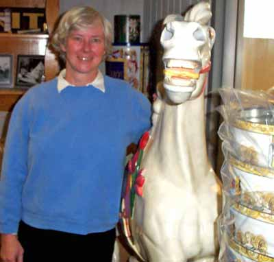 Betsy Humphrey with horse from Euclid Beach Carousel