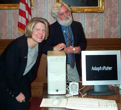 Cleveland Mayor Jane Campbell with Jim Cookinham for AdoptAPuter