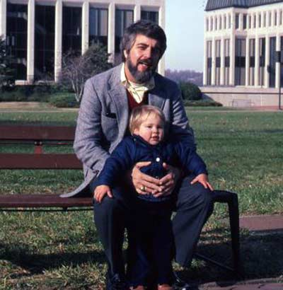 Jim Cookinham in front of the US Naval Academy with son Chad in 1981