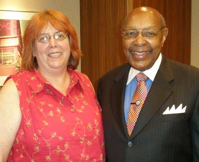 Writer Debbie Hanson with Louis Stokes in June 2007