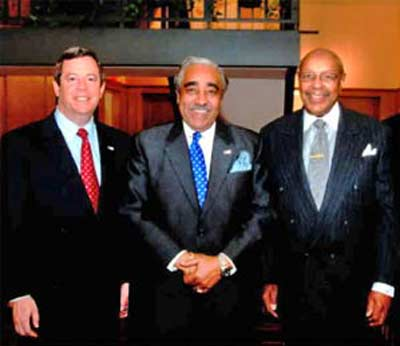 CWRU President Edward Hundert with Congressmen Charles Rangel and Louis Stokes
