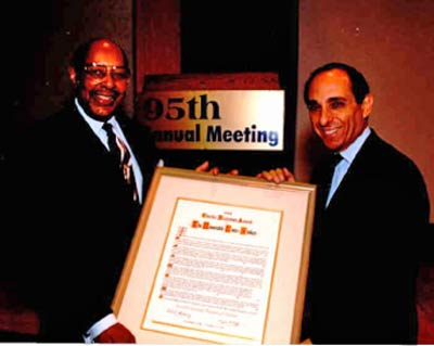 Louis Stokes with Robert Bobby Goldberg, past Board Chairman of Jewish Community Federation and President CEO of Amtrust Bank