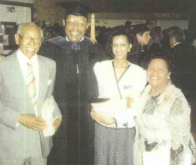 Commencement Speaker Louis Stokes at Case Western Reserve University, with Linton Freeman, Judge Angela Stokes (daughter), and Mrs. Ruth Freeman
