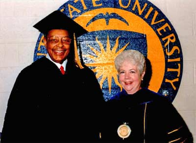 Louis Stokes and Carol Cartwright at Kent State University