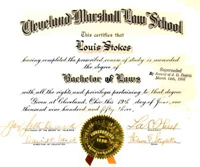 Louis Stokes Law School Certificate - Marshall School of Law