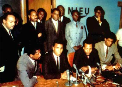 Carl Stokes in Cleveland with sports greats Bill Russell, Muhammad Ali, Jim Brown and Lew Alcindor