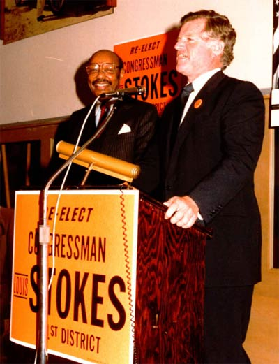 Senator Ted Kennedy with Lou Stokes