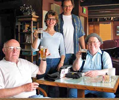 Superhost Marty Sullivan in Oregon with The Oregon Gang - Cousin Bob, Bob's son and daughter-in-law and Marty at an Oregon Microbrewery