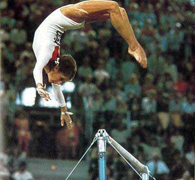 Olga Korbut doing gymnastics at Richfield Coliseum