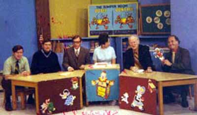 Jim Breslin, Earl Keyes, Miss Barbara on Cleveland WEWS Romper Room set