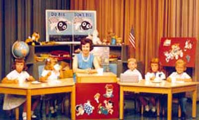 Miss Barbara Plummer on the Romper Room set in 1963