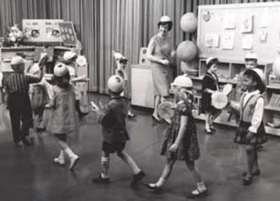 Marching in Romper Room with Miss Barbara Plummer