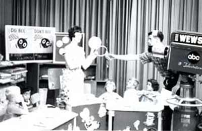Miss Barbara Plummer Switching the Magic Mirror on the Romper Room set in 1964