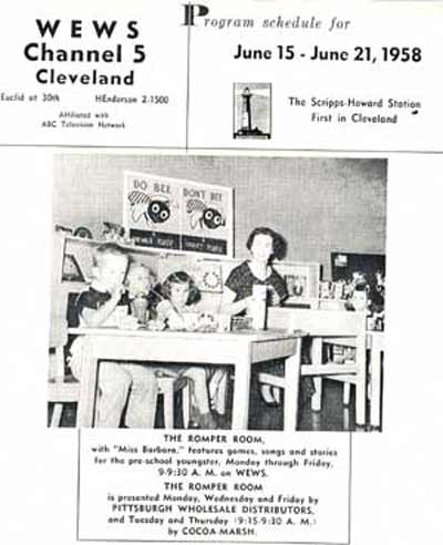WEWS Channel 5 - 1958 program schedule with Romper Room